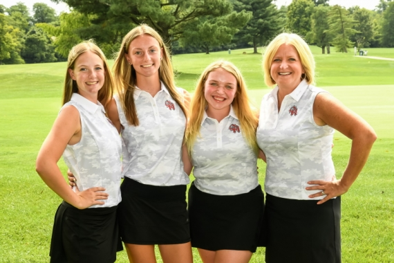 2021 OHHS Girls Golf Senior and Coach Close Up