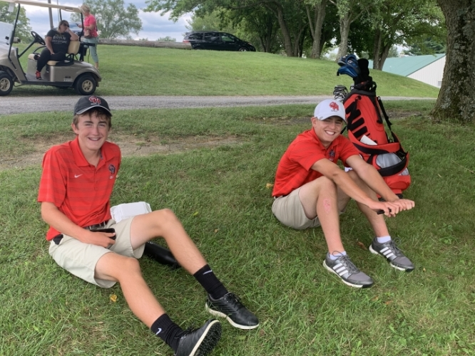 Oak Hills Boys' Golfers - Ryan Williamson and Anthony Singler stayed around after their tournament to support the girls!