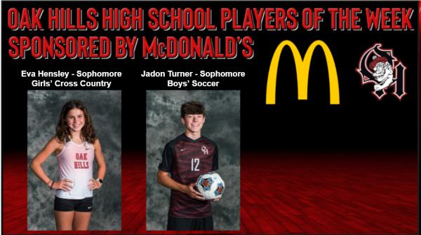 9.15.21 McDonald's Players of the Week, Eva Hensley - Girls Cross Country and Jadon Turner - Boys Soccer