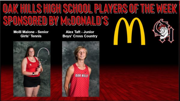 McDonald's Players of the Week for 9.8, Molli Malone and Alex Taft