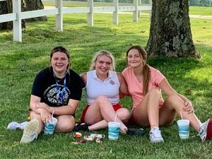 Team Captain, Lydia Essert, with freshmen Ali Roman & Lauren Huster