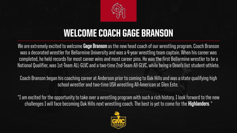 Coach Branson joins us from Anderson High School, he was a 4 year captain at Bellarmine University.